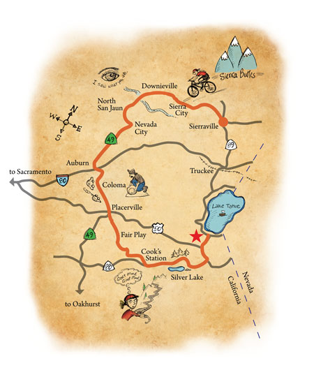california gold rush map. Bicycling through California