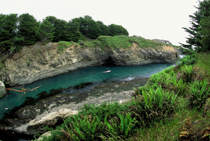 Paddling in the many secluded coves along the Mendocino Headlands. Photo: Chuck Graham