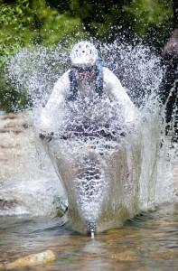 Greg Williams splashing through Pauley Creek.