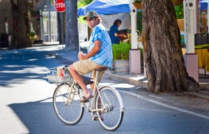 Greg Williams rides in downtown Downieville.