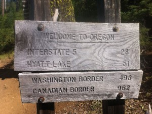 Sign at the Oregon border.