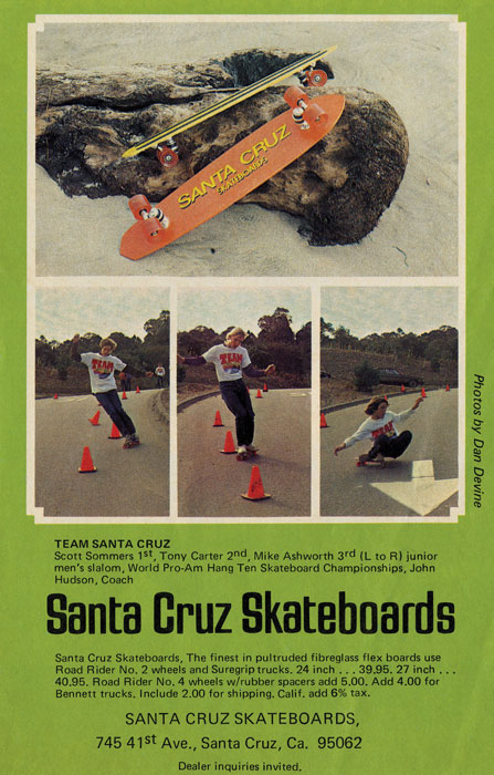 The first magazine ad for Santa Cruz skateboards.