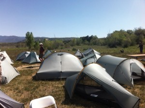 Tent city at the kickoff party in April.
