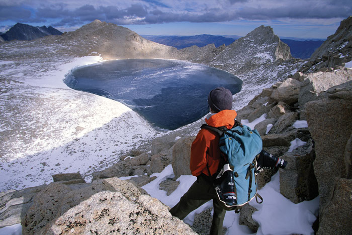 Gazing down over Tulainyo Lake, at 12,800 feet, the highest navigable lake in the U.S. To bag this pristine lake, Dittli and White had to climb over six thousand vertical feet, much of it off trail, and cross a class three pass. Photo: John Dittli