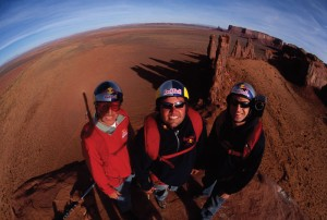 Miles Daisher, Charles Bryan, and Shane McConkey in Page, AZ on October 26, 2003. Photo: Christian Pondella/Red Bull Content Pool