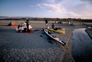 Camping on a mudflat.