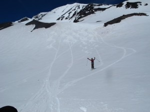 Jillian Raymond skis Mt. Adams in Washington State.  Photo courtesy of Alpenglow Sports