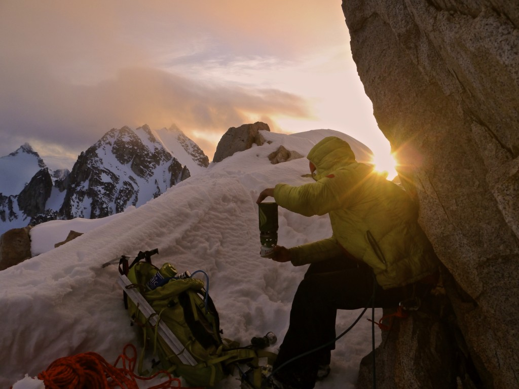 """Brewup at """"sunset"""" on the descent of Rick's Ridge (FA) on Knox Peak (6950'),"""