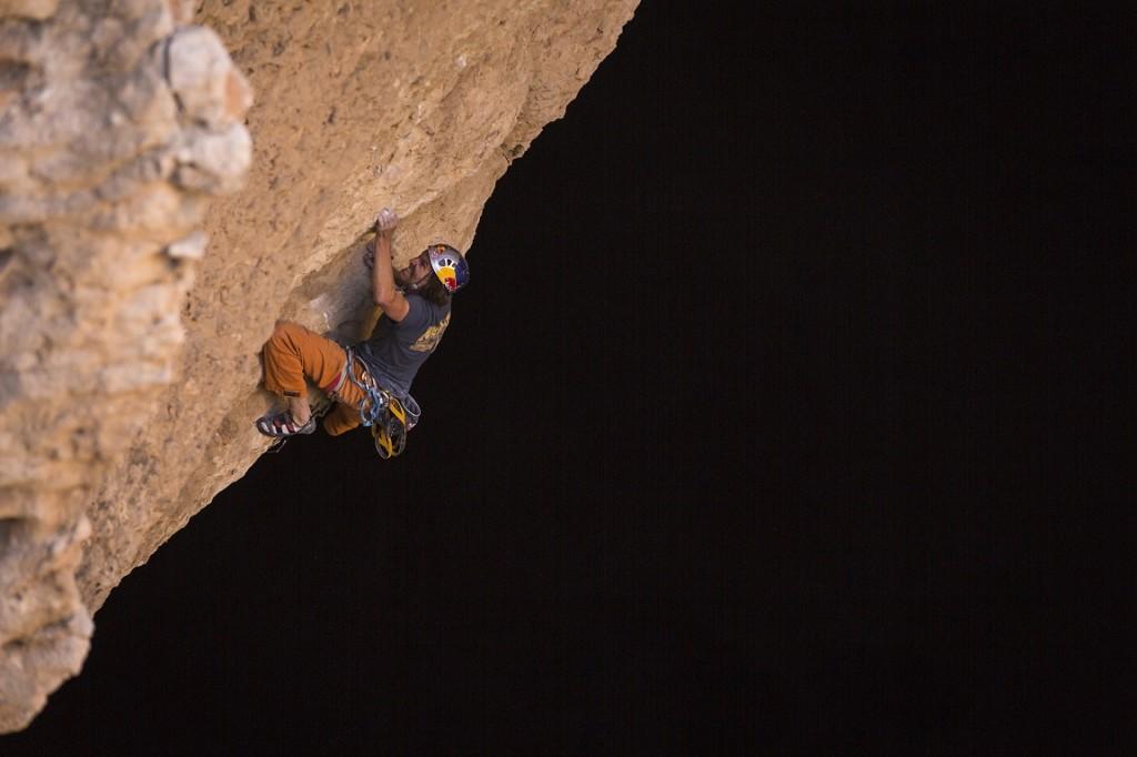 Stefan Glowacz climb the last pitch from the Cave, Cave Majlis Al Chinn, Oman on March 03th, 2014 Copyright: Klaus Fengler/ Stefan Glowacz GmbH