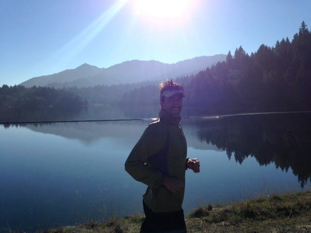 Running on Bon Tempe dam