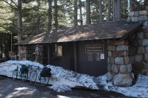 If you go:  Timing is everything! The park tries to get Tioga Pass Road open by Memorial Day weekend (May 29-31), which would make Sunday, May 23, the day to ride this year, assuming road crews don't work on Sunday. This depends greatly on the level of snowpack, though, and there are no guarantees that the park will open the road to cyclists for a day.  Road status can be determined in various ways. Check the Tioga Pass webcam at http://tenaya.ucsd.edu/tioga/ or news reports about the snowplowing operation starting in early May. The ranger we met said visitors in future years might get road information from the Mono Lake Committee Visitor Center (760-647-6595) or perhaps even the Whoa Nellie Deli at Lee Vining's Tioga Gas Mart (760-647-1088).  Tuolumne Hut serves as a campground office in summer. As you head west on Tioga Pass Road, it's just past Lembert Dome's parking area and across the Tuolumne River bridge. The cabin has mattresses, though visitors need sleeping bags. In the unlikely event that visitors fill the cabin, be prepared with a bivvy sack or tent.