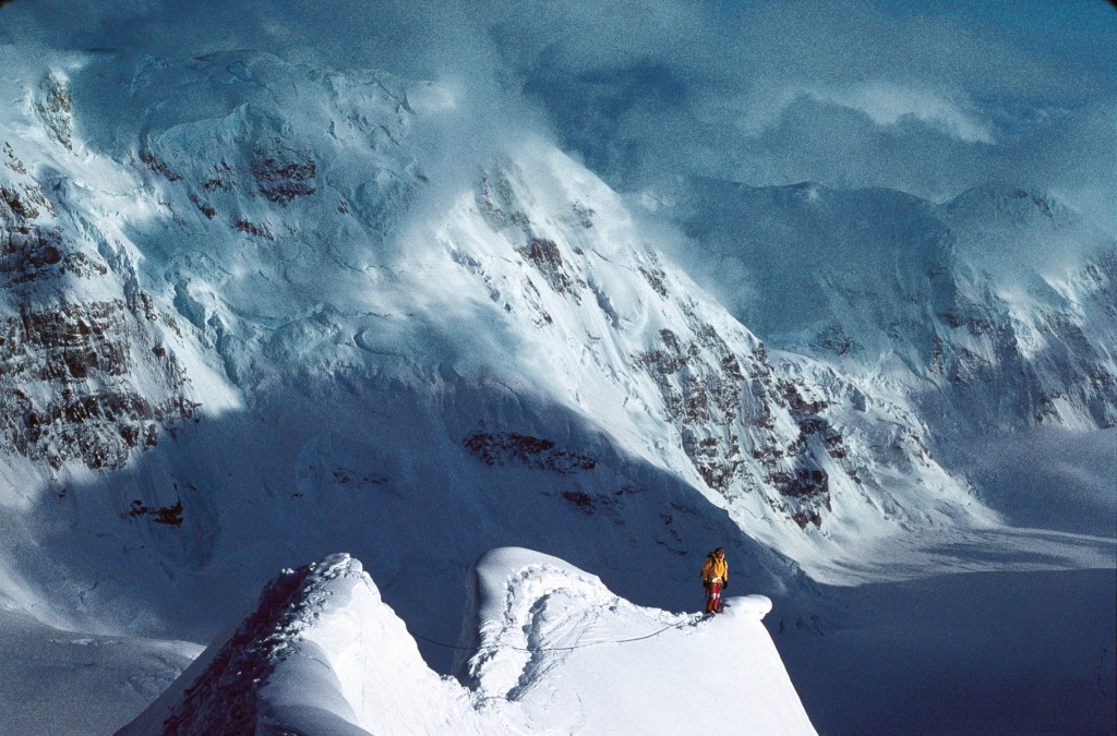 Traversing the Tent Arête on the Cassin Ridge of Mount McKinley, Alaska, 1982. Photo: Kevin Doyle
