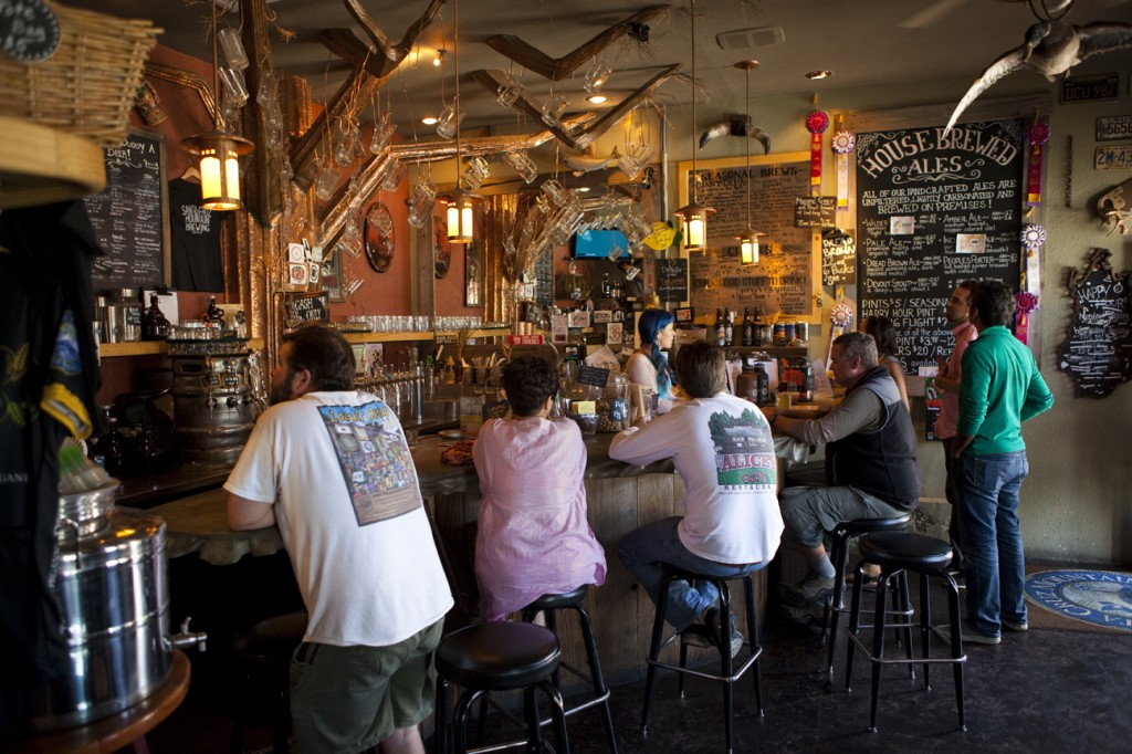 Patrons enjoy a unique, copper clad taproom (Santa Cruz Mountain Brewing).
