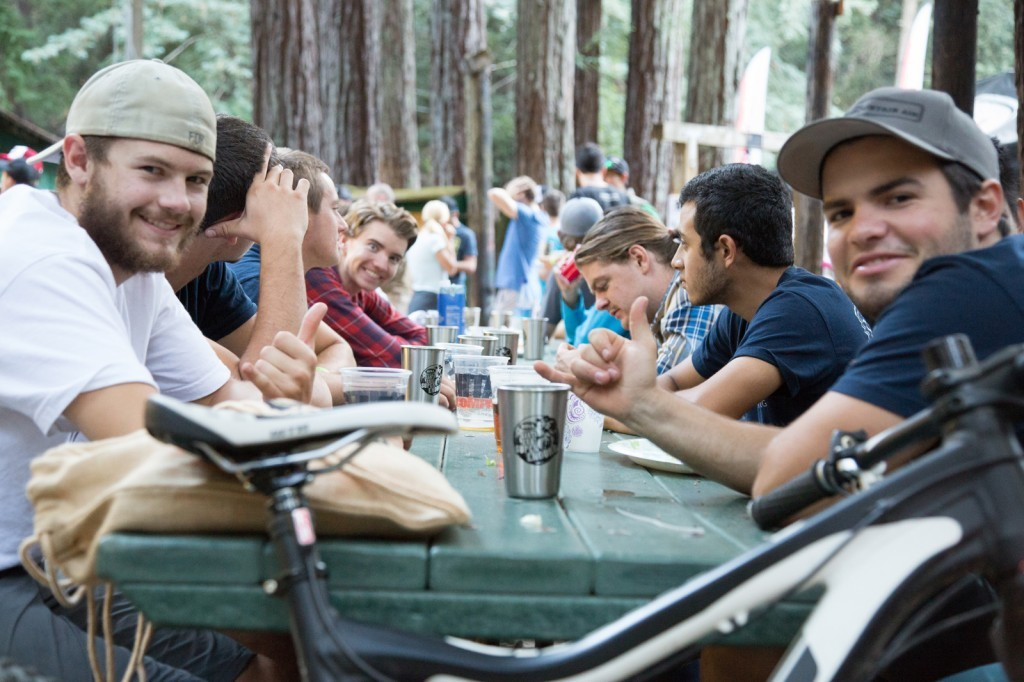 Riders swapped stories while enjoying dinner and beer. Unanimous agreement that it was an all time day of racing in the redwood forest. (Called To Creation)