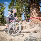 """Brianne Spiersch takes on Mammoth's trademark """"kitty litter"""" terrain at the 2014 Kamikaze Bike Games Enduro. Her strong riding took her all the way to 2nd place on the series pro podium (Called To Creation)."""