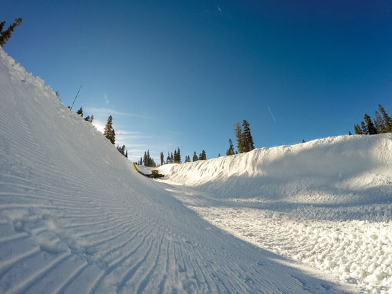 The making of a halfpipe. Photo by Northstar California Resort