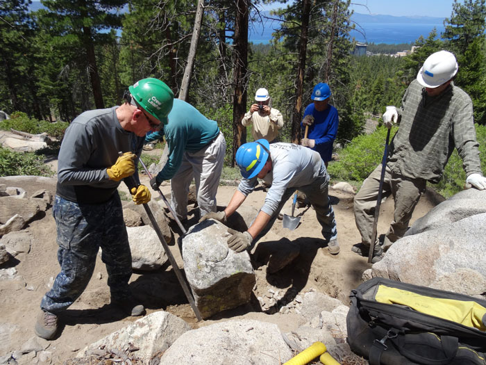 TRTA volunteer workday on the Van Sickle Trail.  Photo courtesy of TRTA