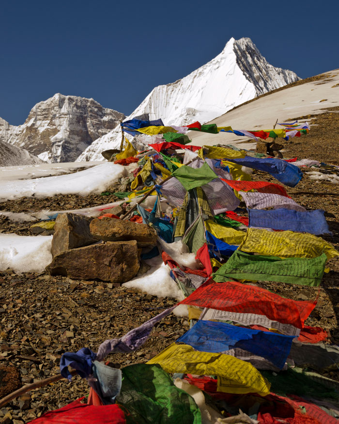 Prayer flags can be found every where in Bhutan including on a hike at 17,000 feet. Photo: Terri Schneider