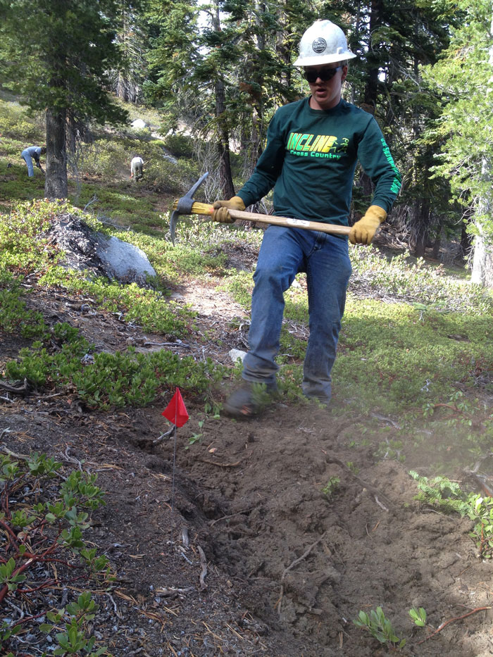 TAMBA volunteer on the new Snapdragon Trail.   Photo by Kevin Joell