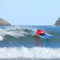 Dave Johnston carving in the finals at the Portugal