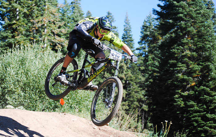 Marco Osborne sends it long and low to a 1st place pro men finish at the 2014 Northstar Livewire Classic Enduro.  Photo: Mary DiNapoli