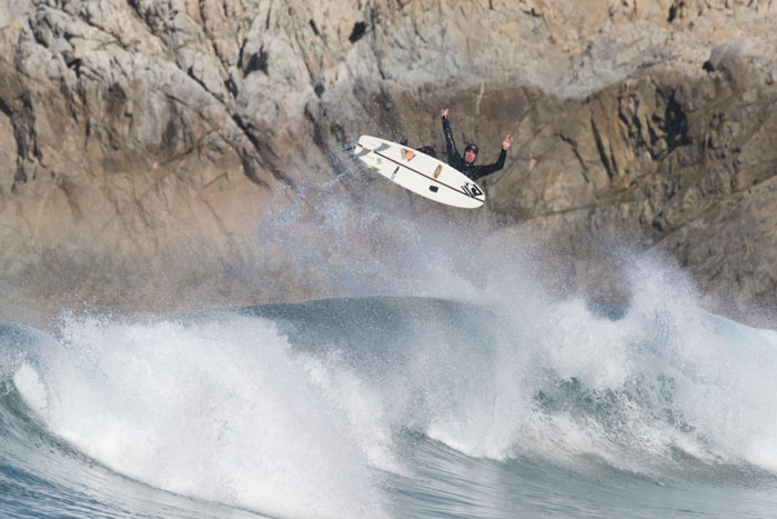 Timmy doing a massive air near Santa Cruz.  Photo by Nelly