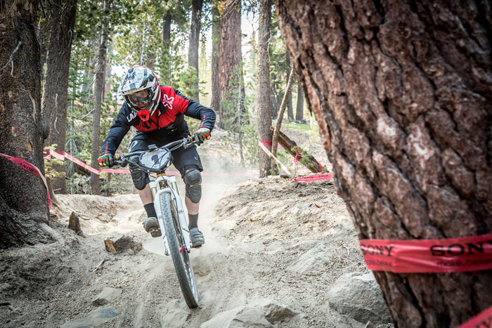 Brian Lopes, winner of the Kamikaze Bike Games 2014 Enduro, pins the fast, loose kitty-litter terrain Mammoth is world-renowned for.  (Called To Creation / California Enduro Series)
