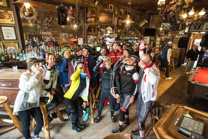 Thanks to Gord Fraiser for suggesting we all do a shot of peppermint schnapps at the bottom of that freezing descent. The oldest bar in Nevada has never been over-run by lycra before, and the look on the local cowboys' faces was about as priceless as the ride was.