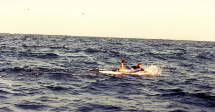 Ryan paddling in rough mid-channel conditions  during the 1996 Catalina Classic Paddleboard Race (Ray Pingree).