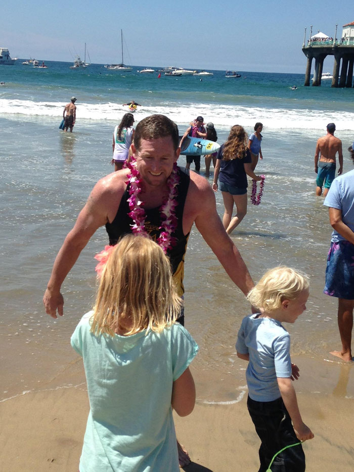 Ryan at the finish of the 2014 Catalina Classic Paddleboard Race (Johnny Kessel).
