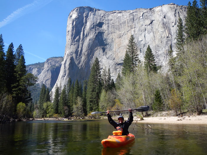 Phil Boyer stoked to see El Cap from the river (Haven Livingston).