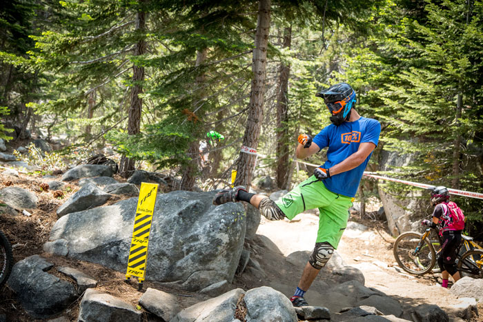 A rider shows us that his line in to the Gnarly Garden includes a steeze whip.