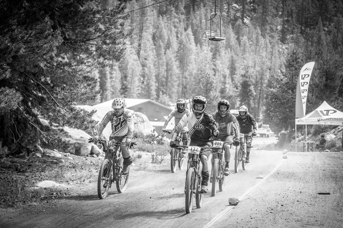 Riders from the sport group begin the climb up to the start of Stage 1.