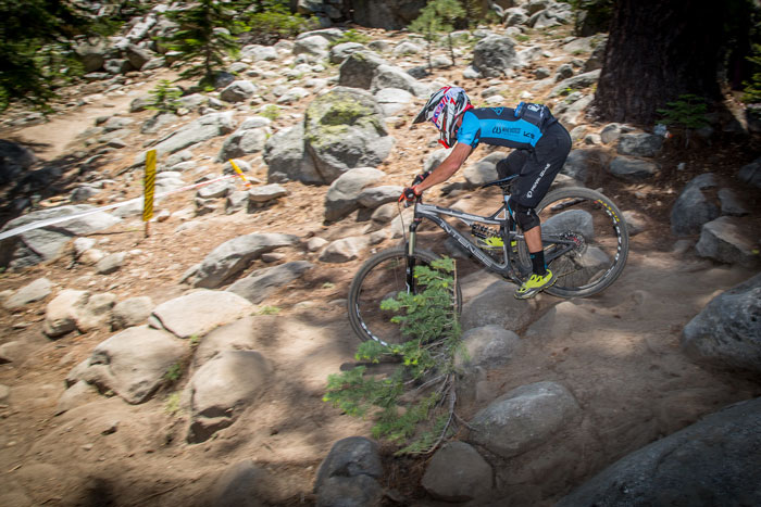 Brian Lopes during his race run in the Stage 3 rock garden, he would finish 2nd overall in Pro Men.
