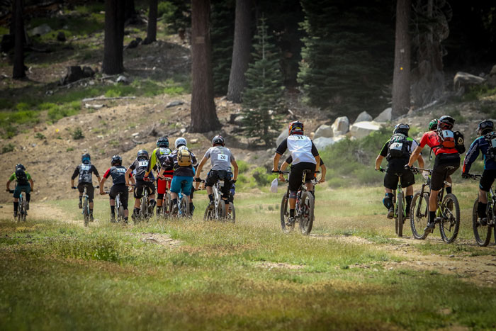 Riders climbing the transfer segment to Stage 2.