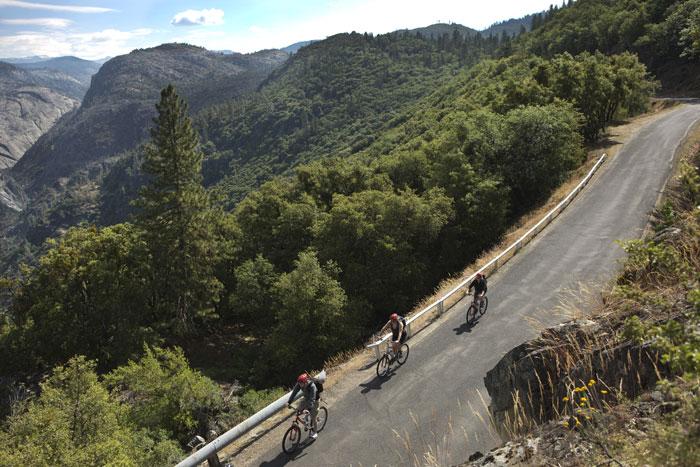 Road bikers heading to the waterfalls. Photo: Evergreen Lodge.