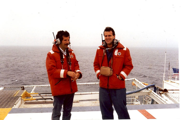 Dan Haifley (right) and Santa Cruz City Councilmember Don Lane (left) on an oil platform off Vandenberg Air Force Base in the early 90s.