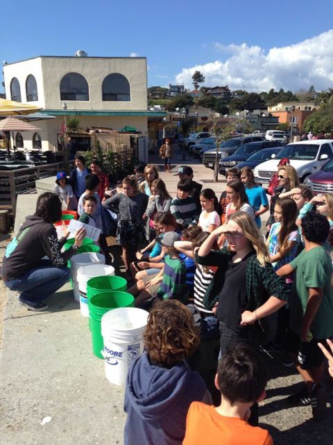 Middle School students prepare to clean Capitola beach.