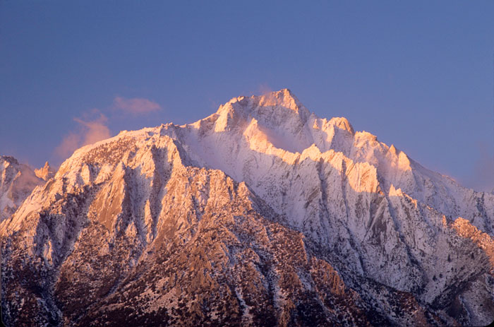 Mt. Whitney and Lone Pine Peak, winter sunrise. Photo: Andy Selters.