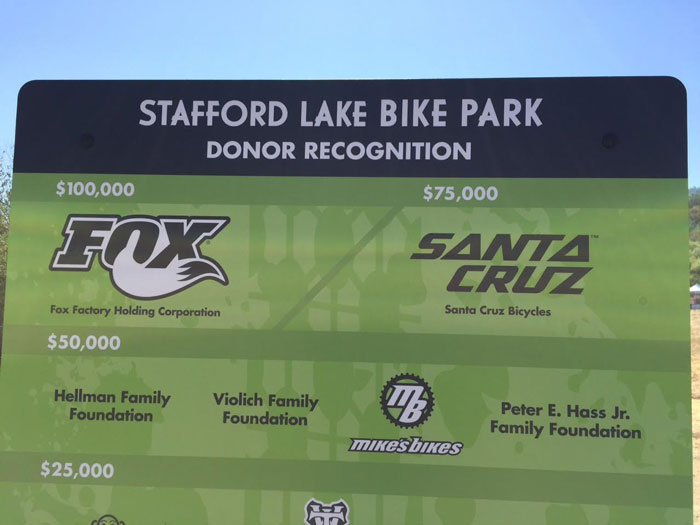 The Stafford Lake Bike Park was made possible by the generosity of private donors and sponsors.