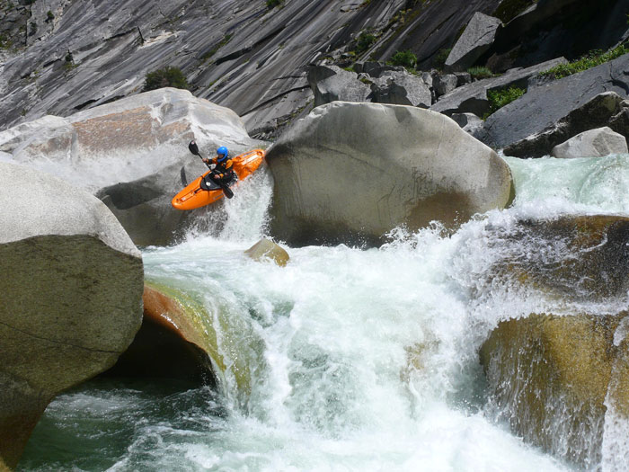Melissa DeMarie powers down Bald Rock on the Middle Fork Feather River. Photo: Eric Petlock.