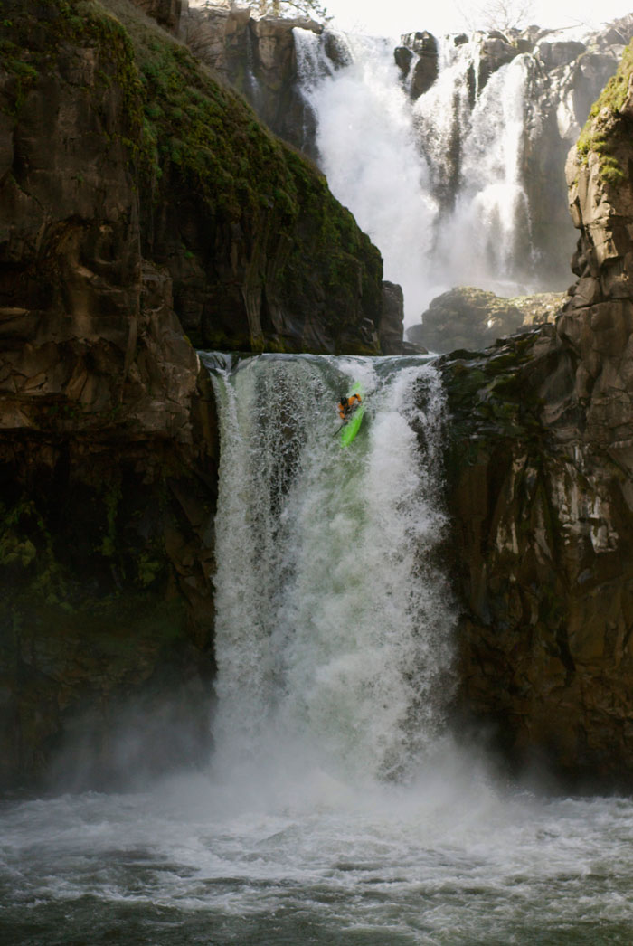 You have to start small to go big. Melissa DeMarie hucks Celestial Falls in Oregon. Photo: Ben York.