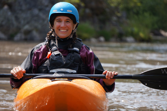 Melissa DeMarie has a moment of calm on the North Fork Payette. Photo: Adam Walker.
