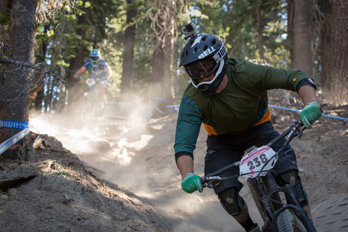 A racer gets a feel for the fast and furious terrain at the bottom of Stage 3 during practice.