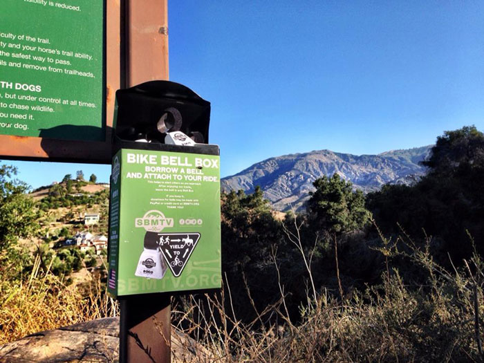 Using bike bells helps mitigate user conflicts on the trails in Santa Barbara. Photo: SBMTV