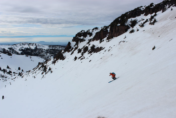 Hazen riding down the back on an unknown peak after the north-facing aspect was too firm. Photo: Spencer McNamara