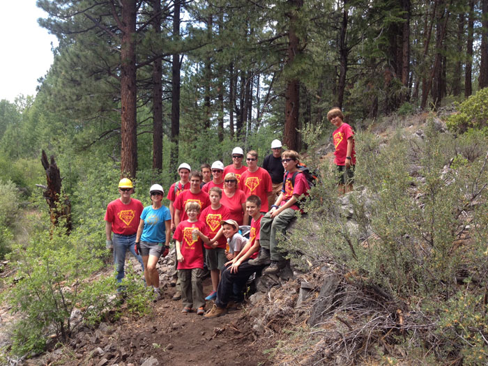 Young men from Troop 267 working on their Eagle Scout Project and helping with trail building and maintenance. Photo: TDLT