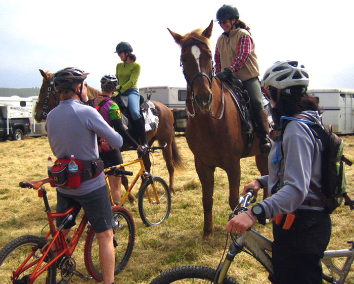Equestrians and mountain bikers working together to share the trails respectfully in Santa Cruz County Photo: Mark Davidson / Mountain Bikers of Santa Cruz