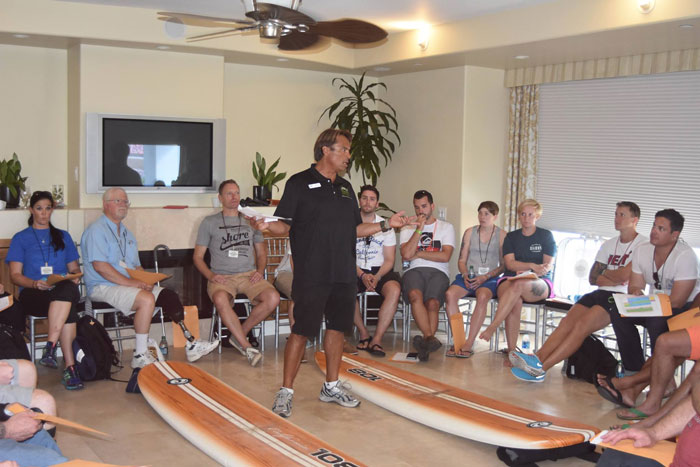 Van teaching dry land training at the welcome orientation (Spike Thiesmeyer).