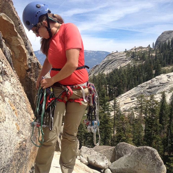 Author Meggan Wenbourne checks her gear at Shuteye Ridge (Nikolas Martinelli).